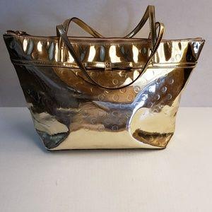 Kate Spade Gold Metallic Patent Leather Tote